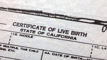 Partial image of Certificate of Live Birth form