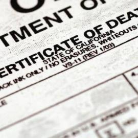 Death certificate partial image